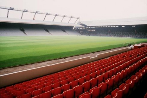 Old Anfield view from the Main Stand looking over at the Spion Kop and Kemlyn Road stand (now Centenary stand)